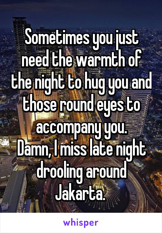Sometimes you just need the warmth of the night to hug you and those round eyes to accompany you. Damn, I miss late night drooling around Jakarta.