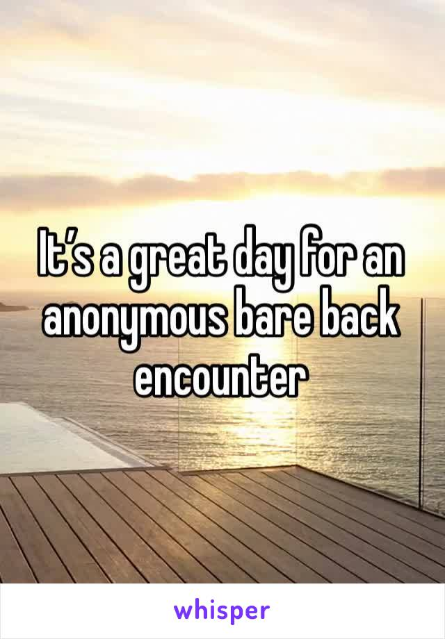 It's a great day for an anonymous bare back encounter