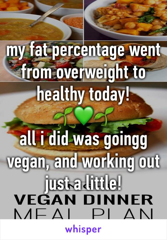 my fat percentage went from overweight to healthy today! 🌱💚🌱 all i did was goingg vegan, and working out just a little!