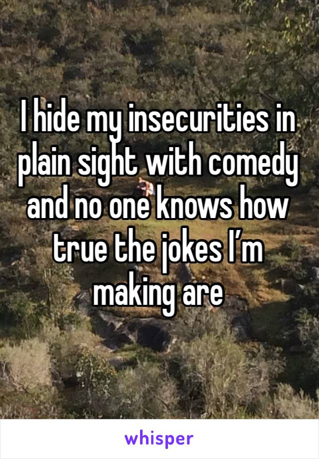 I hide my insecurities in plain sight with comedy and no one knows how true the jokes I'm making are