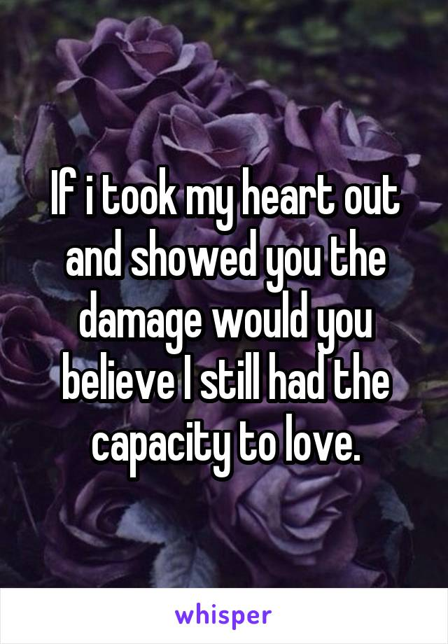 If i took my heart out and showed you the damage would you believe I still had the capacity to love.