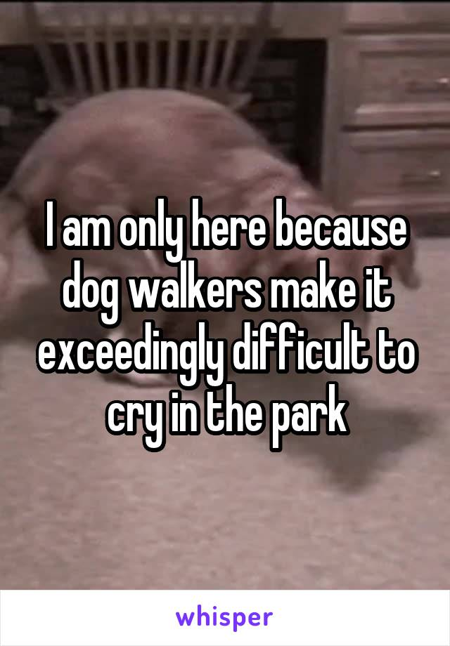 I am only here because dog walkers make it exceedingly difficult to cry in the park
