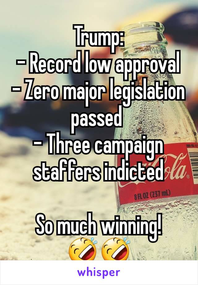 Trump: - Record low approval - Zero major legislation passed  - Three campaign staffers indicted  So much winning! 🤣🤣