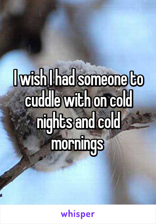 I wish I had someone to cuddle with on cold nights and cold mornings