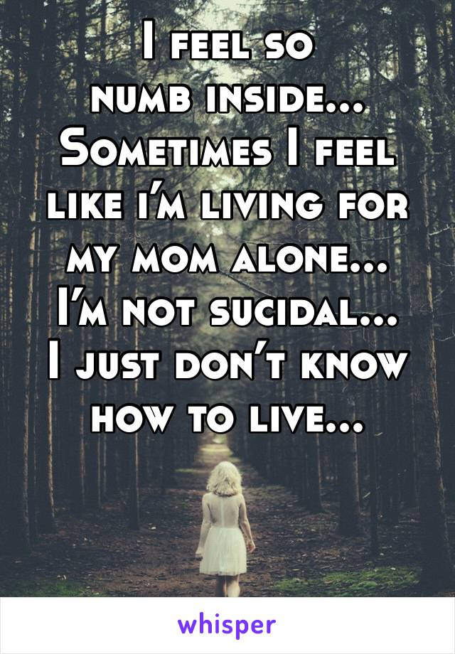 I feel so numb inside... Sometimes I feel like i'm living for my mom alone... I'm not sucidal... I just don't know how to live...