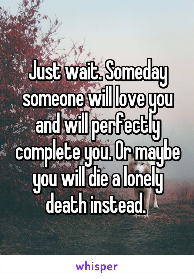 Just wait. Someday someone will love you and will perfectly complete you. Or maybe you will die a lonely death instead.