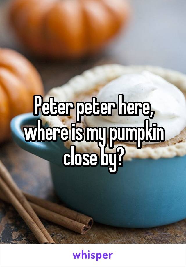 Peter peter here, where is my pumpkin close by?