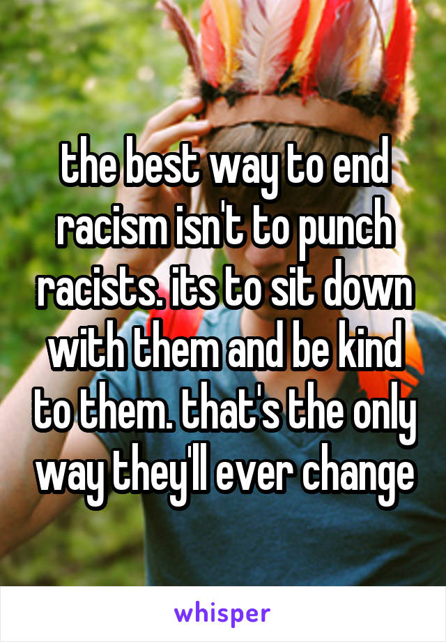 the best way to end racism isn't to punch racists. its to sit down with them and be kind to them. that's the only way they'll ever change