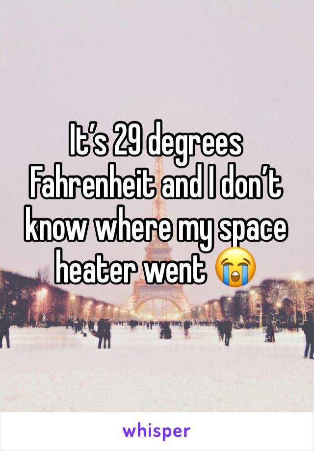 It's 29 degrees Fahrenheit and I don't know where my space heater went 😭