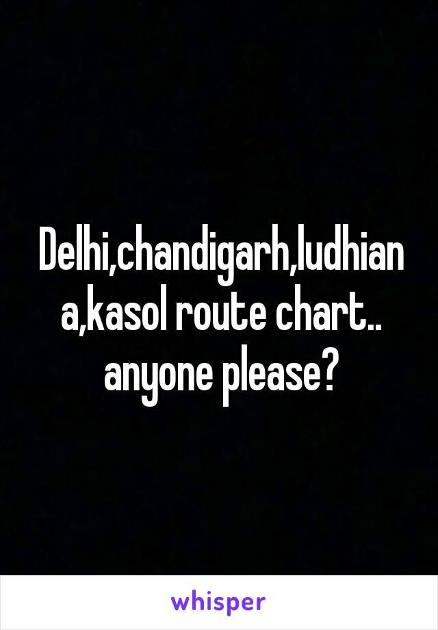 Delhi,chandigarh,ludhiana,kasol route chart.. anyone please?