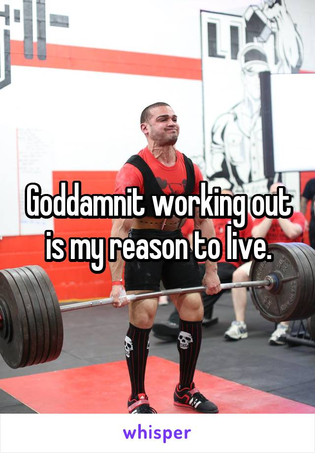 Goddamnit working out is my reason to live.