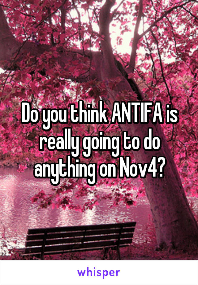 Do you think ANTIFA is really going to do anything on Nov4?