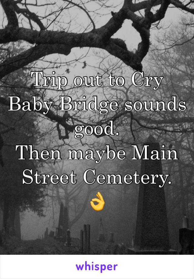 Trip out to Cry Baby Bridge sounds good.  Then maybe Main Street Cemetery.  👌