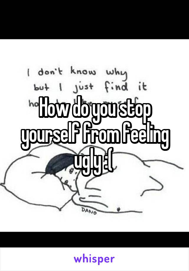 How do you stop yourself from feeling ugly :(