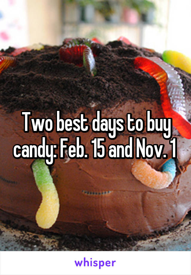 Two best days to buy candy: Feb. 15 and Nov. 1