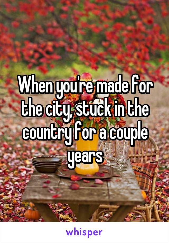When you're made for the city, stuck in the country for a couple years