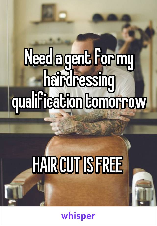 Need a gent for my hairdressing qualification tomorrow   HAIR CUT IS FREE
