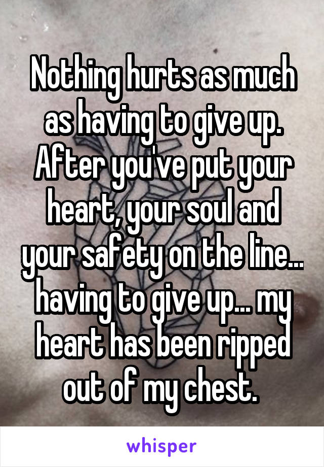 Nothing hurts as much as having to give up. After you've put your heart, your soul and your safety on the line... having to give up... my heart has been ripped out of my chest.