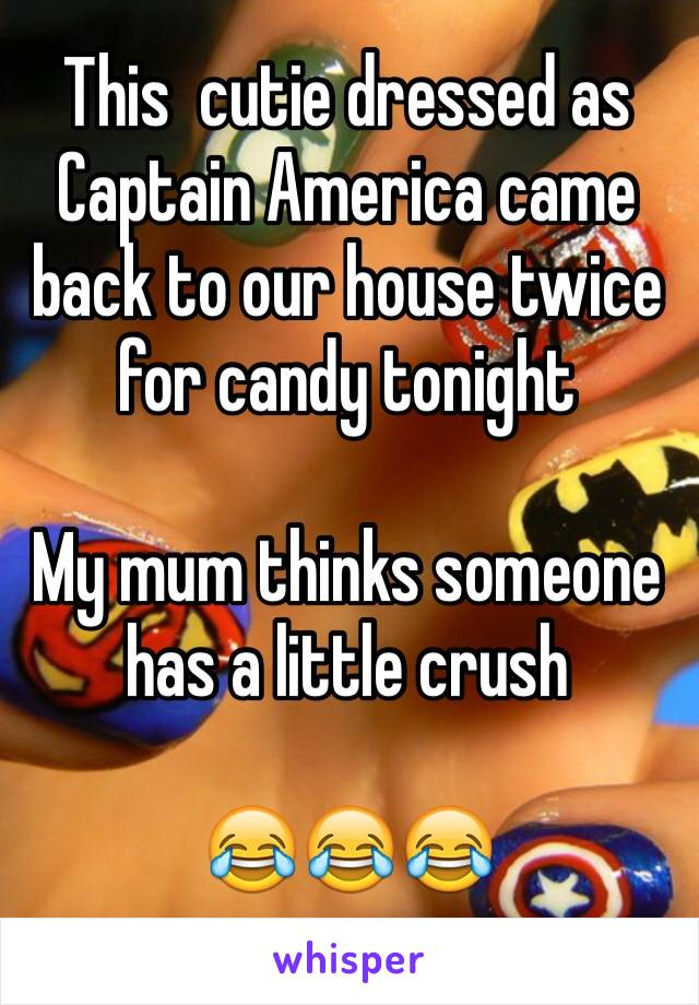 This  cutie dressed as Captain America came back to our house twice for candy tonight  My mum thinks someone has a little crush    😂😂😂