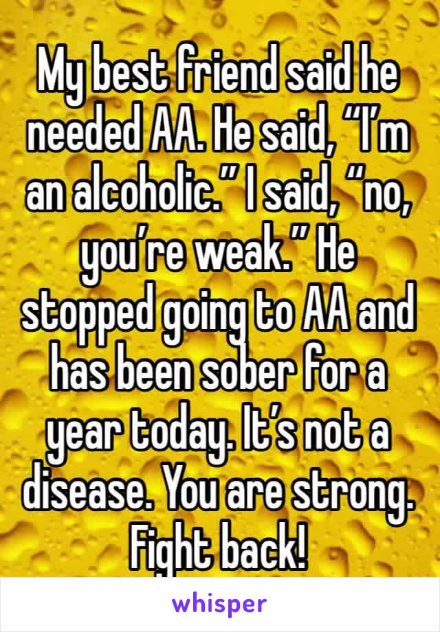 """My best friend said he needed AA. He said, """"I'm an alcoholic."""" I said, """"no, you're weak."""" He stopped going to AA and has been sober for a year today. It's not a disease. You are strong. Fight back!"""
