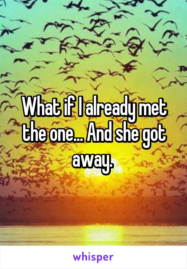 What if I already met the one... And she got away.
