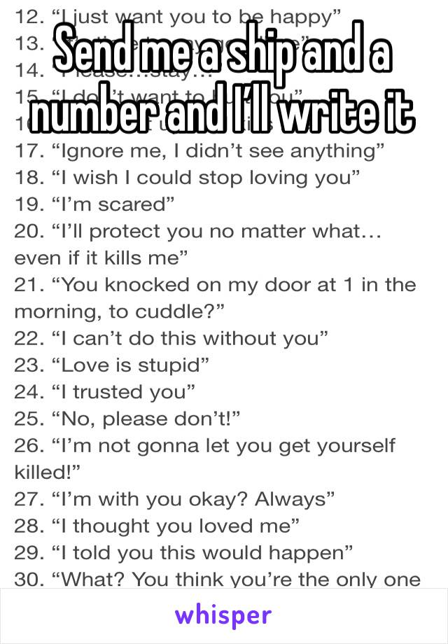 Send me a ship and a number and I'll write it