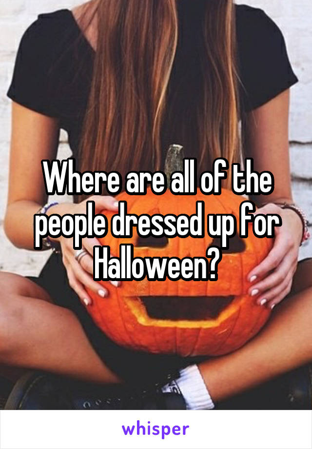 Where are all of the people dressed up for Halloween?