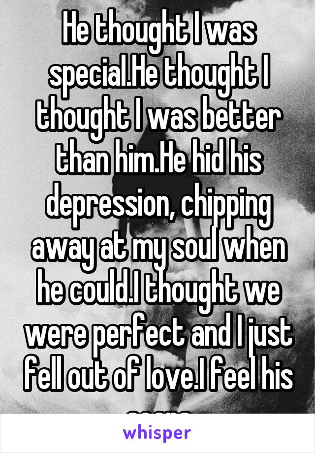 He thought I was speciaI.He thought I thought I was better than him.He hid his depression, chipping away at my soul when he could.I thought we were perfect and I just fell out of love.I feel his scars