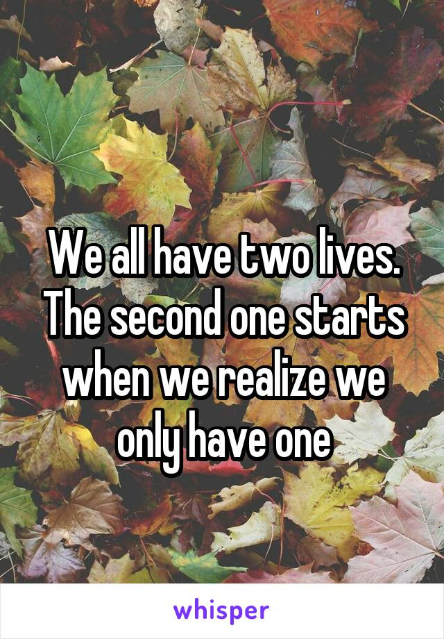We all have two lives. The second one starts when we realize we only have one