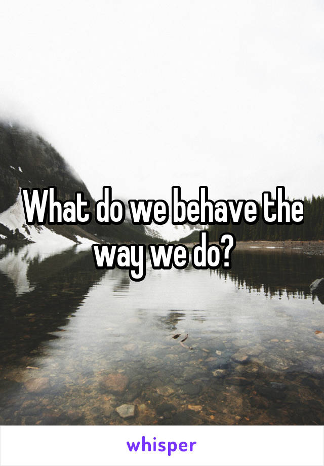 What do we behave the way we do?