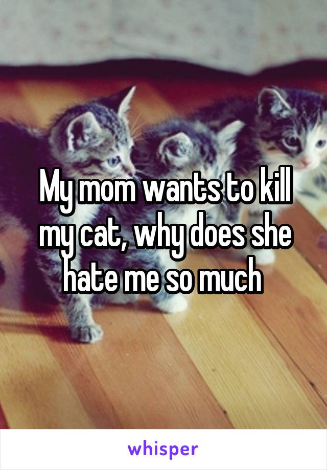 My mom wants to kill my cat, why does she hate me so much
