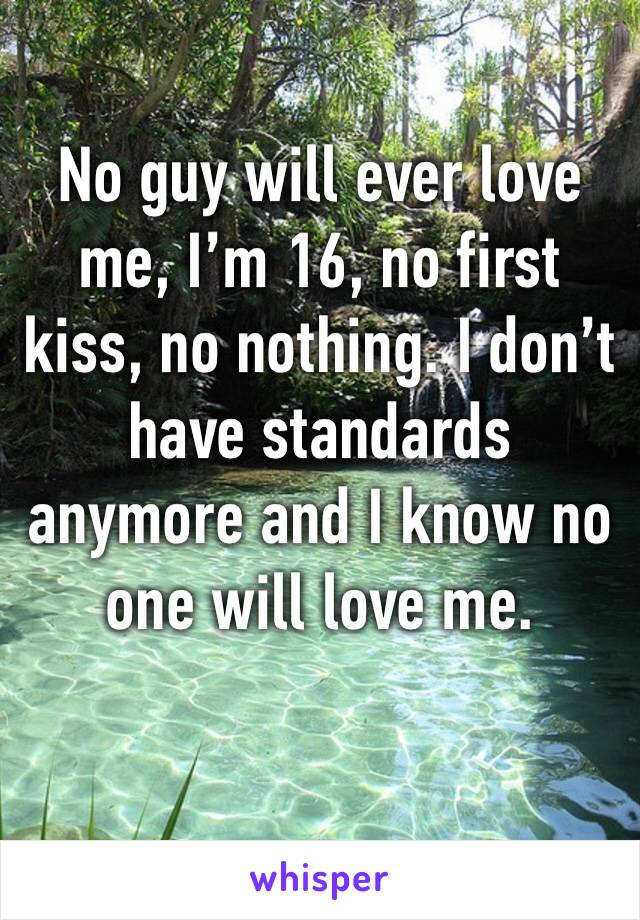 No guy will ever love me, I'm 16, no first kiss, no nothing. I don't have standards anymore and I know no one will love me.