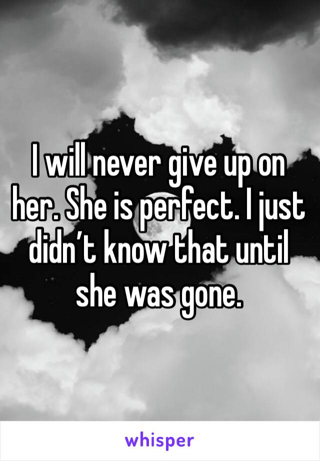 I will never give up on her. She is perfect. I just didn't know that until she was gone.