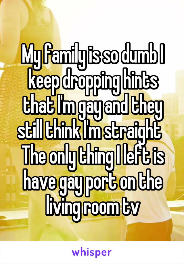My family is so dumb I keep dropping hints that I'm gay and they still think I'm straight   The only thing I left is have gay port on the living room tv
