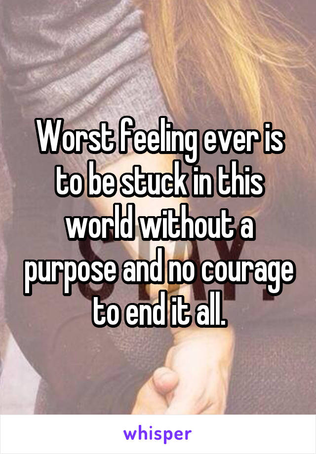 Worst feeling ever is to be stuck in this world without a purpose and no courage to end it all.