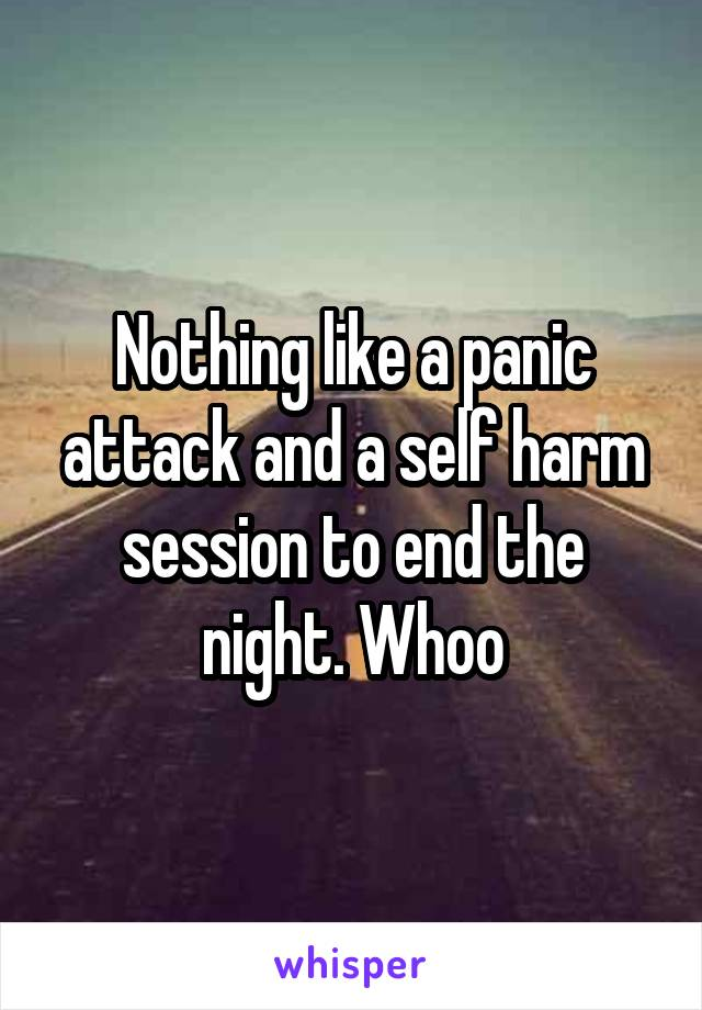 Nothing like a panic attack and a self harm session to end the night. Whoo