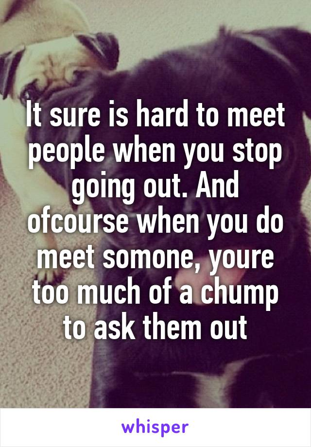 It sure is hard to meet people when you stop going out. And ofcourse when you do meet somone, youre too much of a chump to ask them out