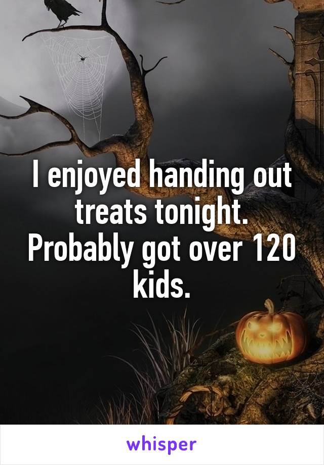 I enjoyed handing out treats tonight. Probably got over 120 kids.