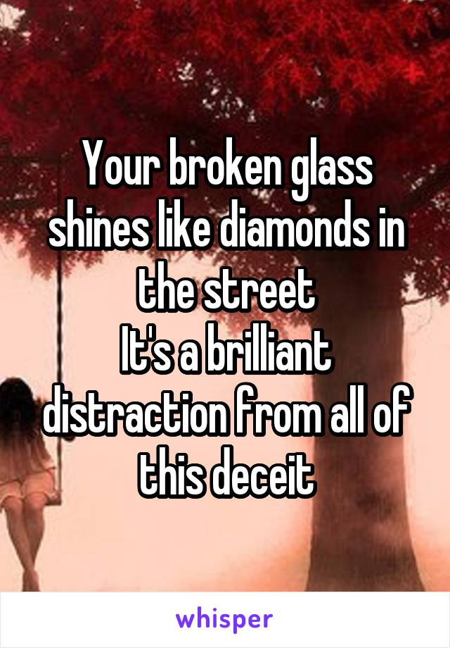 Your broken glass shines like diamonds in the street It's a brilliant distraction from all of this deceit