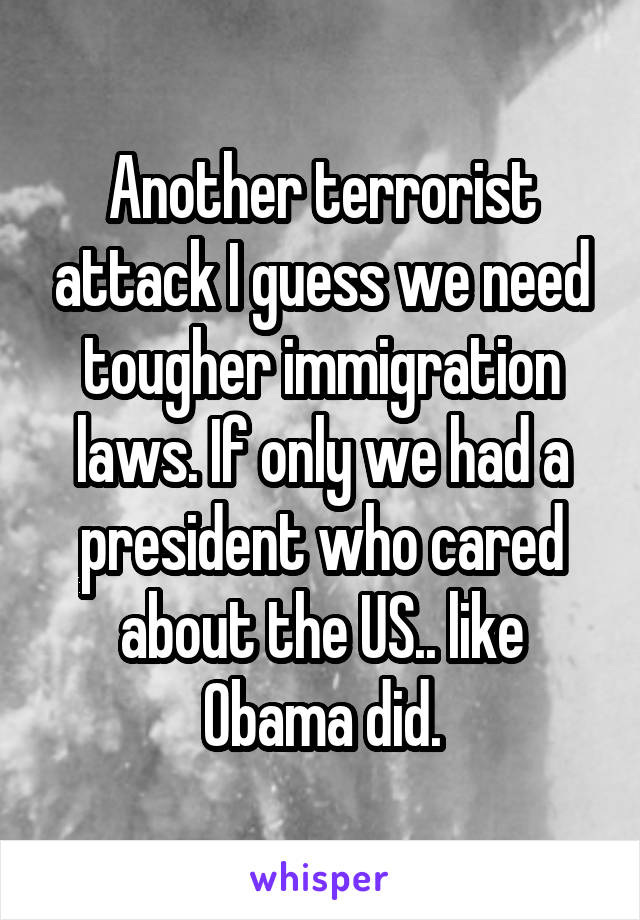 Another terrorist attack I guess we need tougher immigration laws. If only we had a president who cared about the US.. like Obama did.