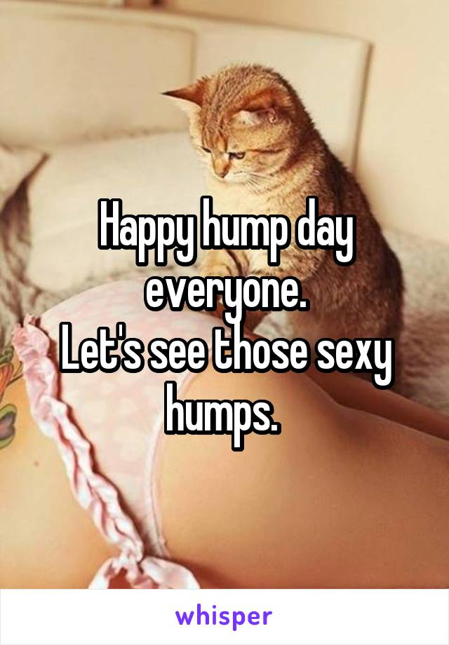 Happy hump day everyone. Let's see those sexy humps.