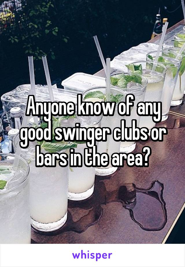 Anyone know of any good swinger clubs or bars in the area?