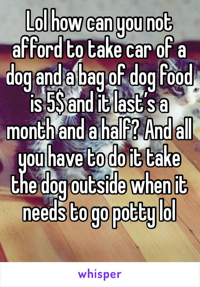 Lol how can you not afford to take car of a dog and a bag of dog food is 5$ and it last's a month and a half? And all you have to do it take the dog outside when it needs to go potty lol