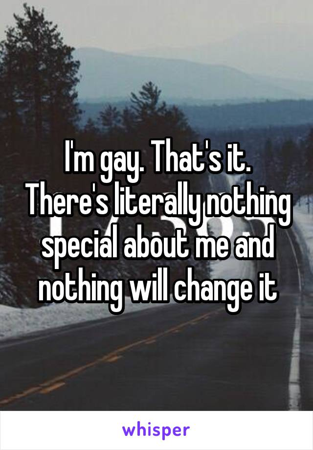I'm gay. That's it. There's literally nothing special about me and nothing will change it