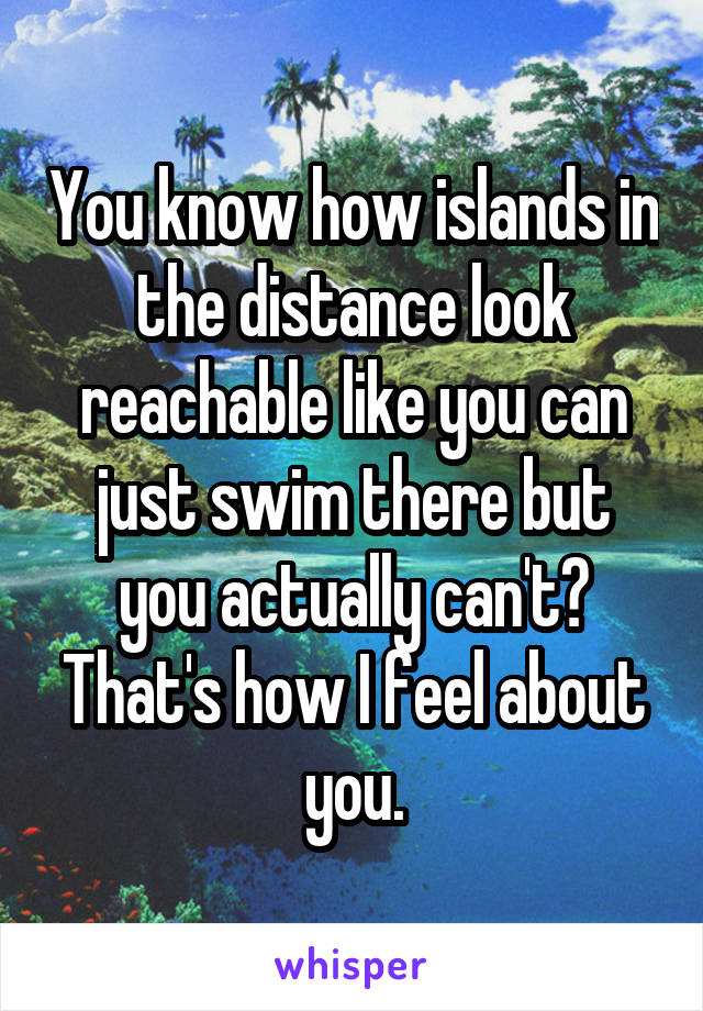 You know how islands in the distance look reachable like you can just swim there but you actually can't? That's how I feel about you.