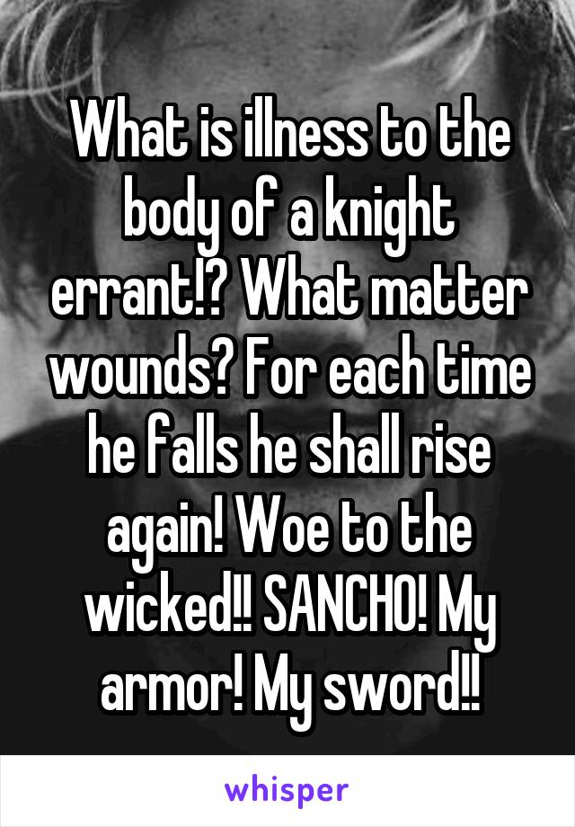 What is illness to the body of a knight errant!? What matter wounds? For each time he falls he shall rise again! Woe to the wicked!! SANCHO! My armor! My sword!!