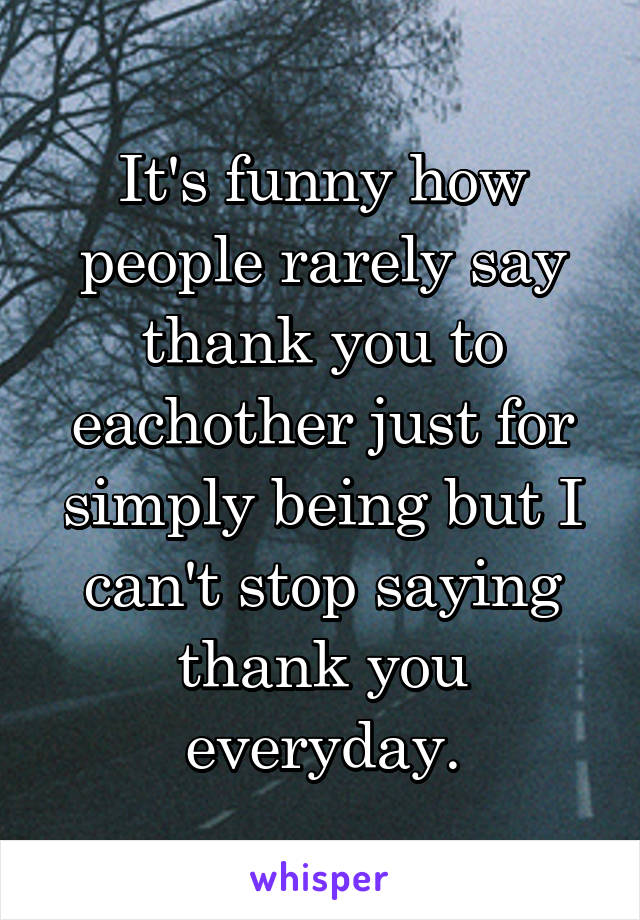 It's funny how people rarely say thank you to eachother just for simply being but I can't stop saying thank you everyday.