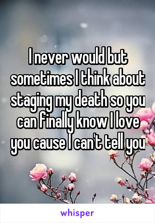 I never would but sometimes I think about staging my death so you can finally know I love you cause I can't tell you