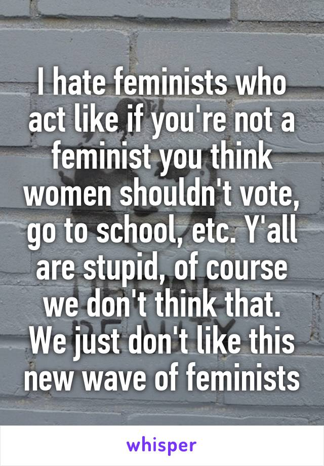 I hate feminists who act like if you're not a feminist you think women shouldn't vote, go to school, etc. Y'all are stupid, of course we don't think that. We just don't like this new wave of feminists