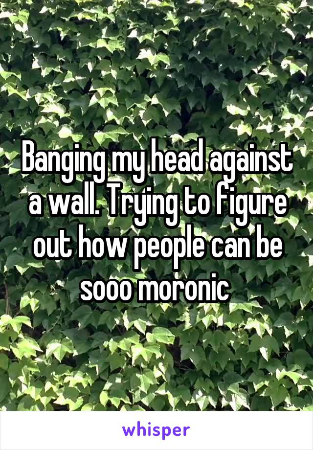 Banging my head against a wall. Trying to figure out how people can be sooo moronic